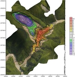 深層崩壊に関するシミュレーション技術(LSFLOW)による深層崩壊に伴う天然ダムの形状再現計算結果