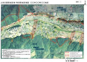 土砂災害警戒区域などの表示看板の記載例